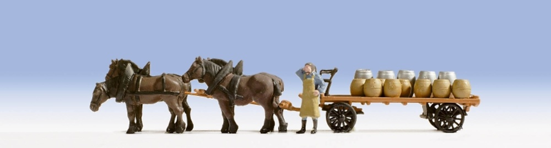 Carro con caballos transporte de cerveza Noch 1/87