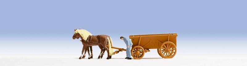Carro con caballos y Arriero Noch 1/87