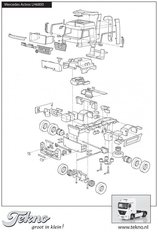 Kit Mercedes Actros LH Megaspace 4x2 Tekno 54069 escala 1/50