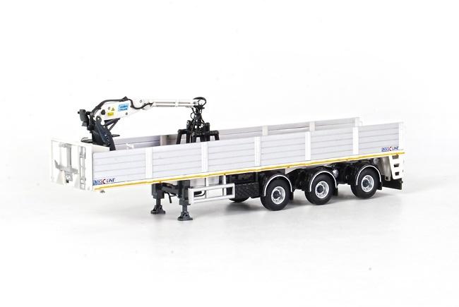 Semiremolque transporte piedras 3 ejes, con grua, Wsi Models 03-1125 escala 1/50