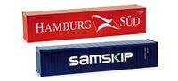 "Container-Set 2x40 ft. ""Hamburg Süd / Samskip"", Herpa 076449 Masstab 1/87"