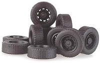 Set 12 ruedas de camion - llantas negras - incl. ejes  Rietze 70086 escala 1/87