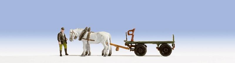 Carro de transporte con caballos y Arriero Noch 1/87