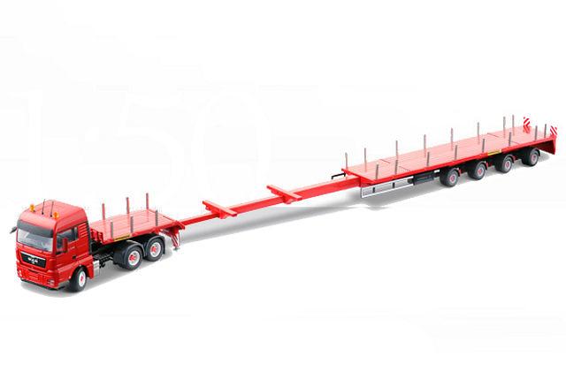 Man Tgx 6x4 con plataforma extensibel 4 ejes, Conrad Modelle 1/50 70194