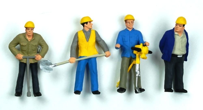 Figuras Obreros Construccion Preiser 63065 Escala 1 32