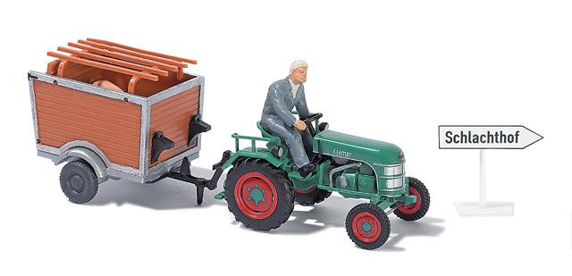Kramer KL11 Tractor con remolque conductor y acc. Busch 1/87