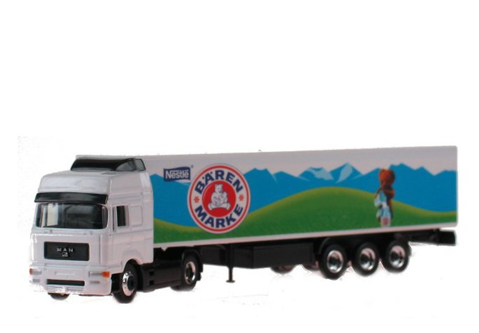 Man F2000 + caja cerrada Baren Marke Nestle Schuco 22403 escala 1/87
