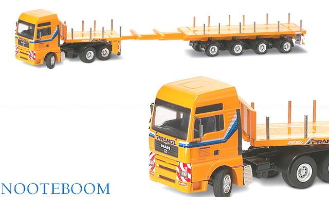 Prangel MAN TGA XXL 3 ejes + Noteboom 4 ejes telestep trailer Conrad 1/50