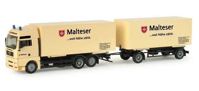 Man Tga xxl caja cerrada con remolque Malteser Herpa 155717