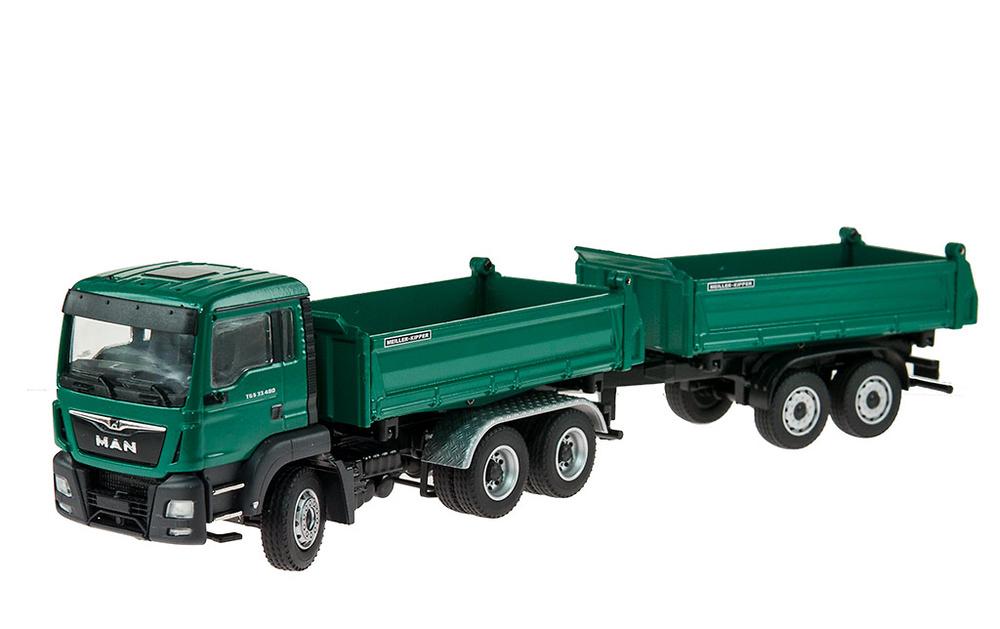 Man Tgs M Euro 6 -Meiller volquete y remolque Conrad Modelle 77182 escala 1/50