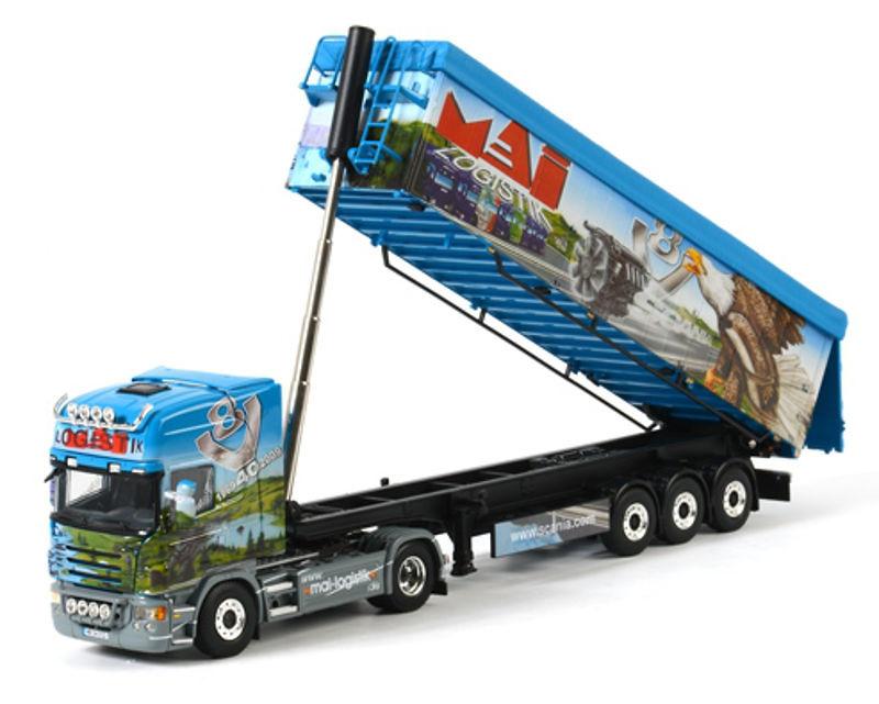 Scania R Topline + semiremolque basculante - Mai LogistikWsi - Models 01-1223 escala 1/50