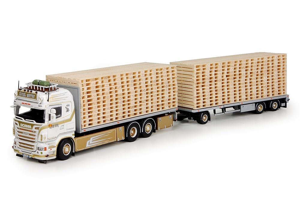 Scania R6 highline + remolque con carga palets Tekno escala 1/50