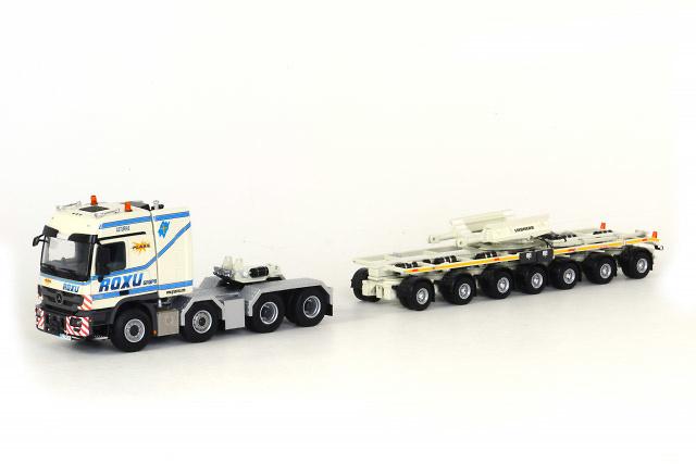 Transporte pluma LTM 11200 ROXU + Mercedes 8X4 Wsi Models 526.71.43 escala 1/50