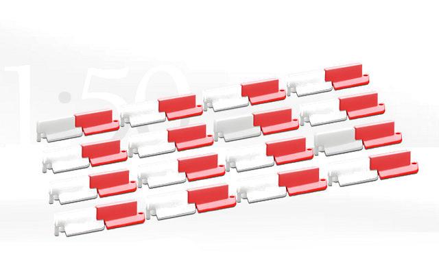 separadores de carril rojo/blanco, Conrad Modelle 99824 escala 1/50