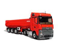 Mercedes Actros Bigspace Rot mit dumptruck Fruehauf, Eligor 115002 Masstab 1/43