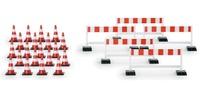 Pylonen (20 Stück), Absperrschranken (5 Stück). Herpa 1/87