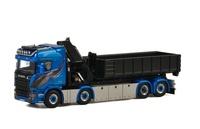 Scania R Streamline Highline Blue Shine + Palfinger + contenedor de elevación de gancho Wsi Models 01-2195