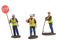 Set 3 Figuren aus Metall Bauarbeiter First Gear 0480 Masstab 1/50