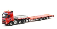 TIS Trans Inter Service 3-axle semi low-loader + Volvo FH 6x2 Wsi Models Masstab 1/50